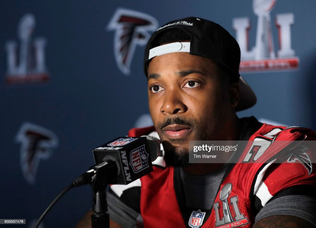 Robert Alford #23 of the Atlanta Falcons addresses the media during the Super Bowl LI press conference on February 2, 2017 in Houston, Texas.