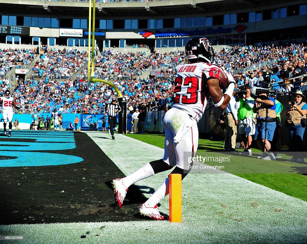 Robert Alford #23 of the Atlanta Falcons intercepts a pass against the Carolina Panthers at Bank of America Stadium on November 3, 2013 in Charlotte, North Carolina