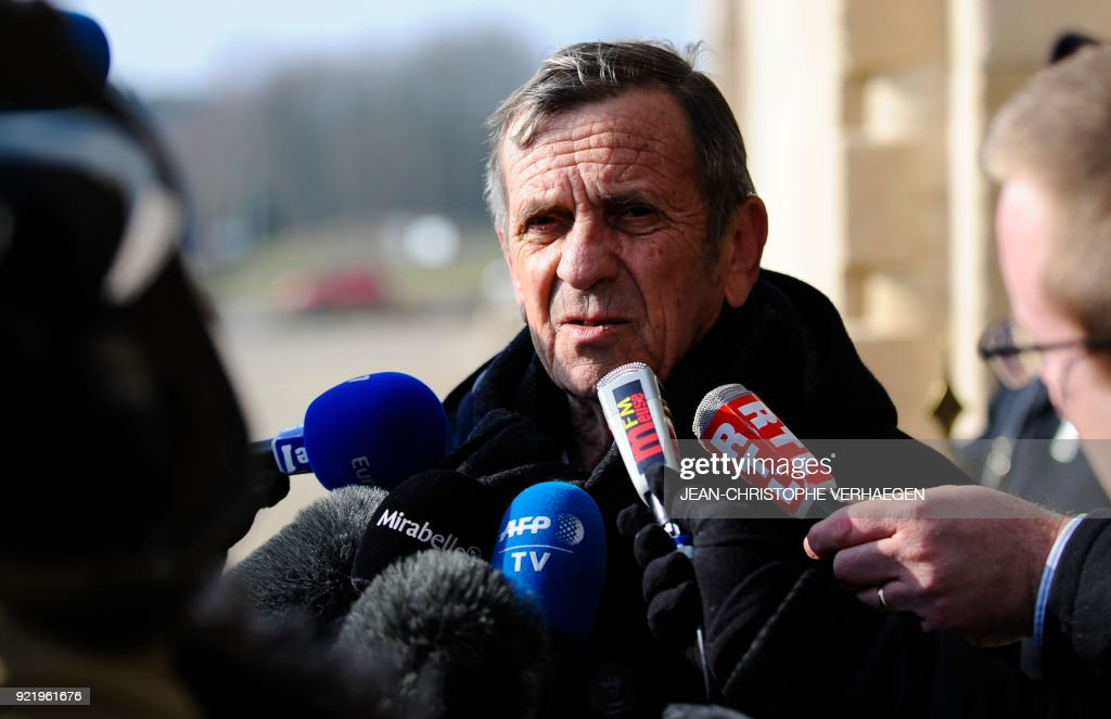 Robert Allard, grandson of sergeant Claude Fournier, speaks to journalists after the burial of three French soldiers who died during World War I in the Douaumont ossuary military cemetery in Douaumont, eastern France, on February 21, 2018. The remains were found in May 2015 during construction work at Douaumont memorial, which contains the remains of soldiers who died during the 10-month scorched-earth battle between French and German forces. The body of Sergeant Claude Fournier was identified by DNA samples from his relatives. /