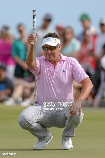 Robert Allenby of Australia lines up his birdie putt on during the final round of the 50th annual ATT Byron Nelson on May 20 2018 at Trinity Forest...