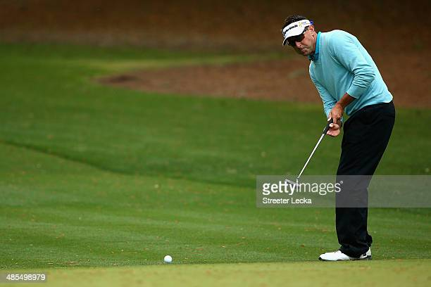 Robert Allenby of Australia putts on the 2nd green during the second round of the RBC Heritage at Harbour Town Golf Links on April 18 2014 in Hilton...