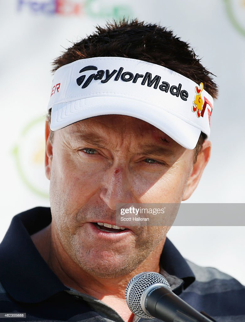 Robert Allenby of Australia speaks with the media during a practice round prior to the start of the Waste Management Phoenix Open at TPC Scottsdale on January 27, 2015 in Scottsdale, Arizona.