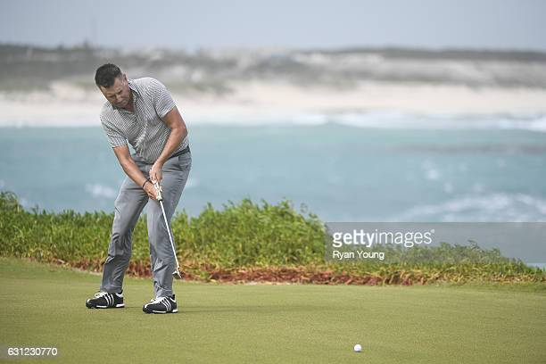 Robert Allenby putts on the 13th hole during the first round of The Bahamas Great Exuma Classic at Sandals Emerald Reef Course on January 8 2017 in...