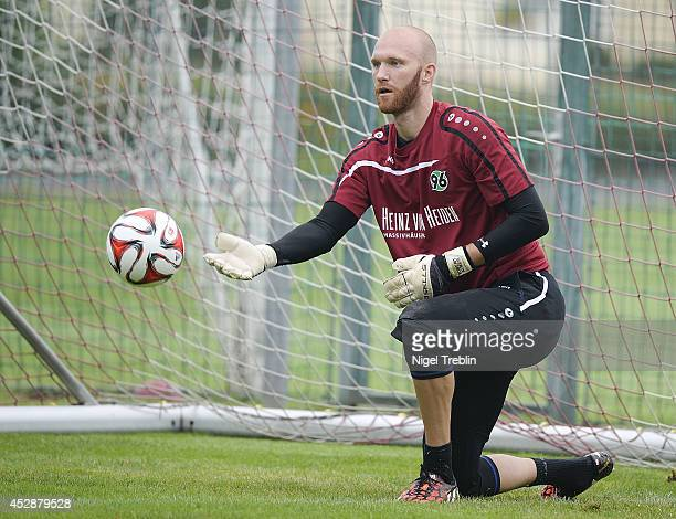 Robert Alma new goalkeeper of Hanover controls the ball during a training session at Hannover 96 training camp on July 28 2014 in Mureck Austria