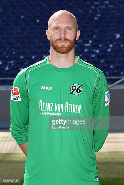 Robert Almer poses during the team presentation of Hannover 96 at HDIArena on August 27 2014 in Hanover Germany