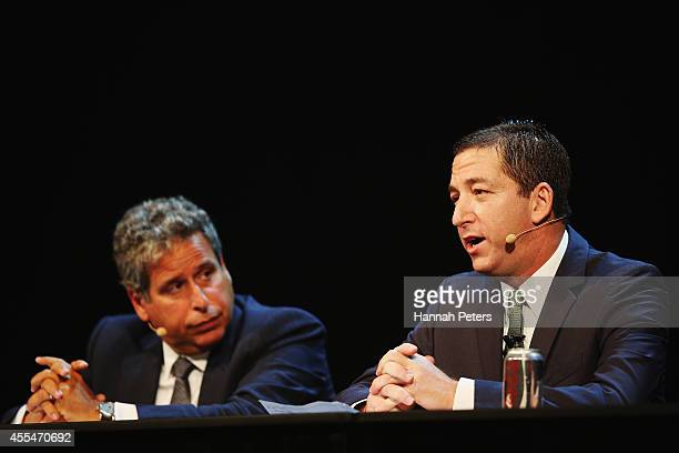 Robert Amsterdam and Glenn Greenwald discuss the revelations about New Zealand's mass surveillance at Auckland Town Hall on September 15 2014 in...