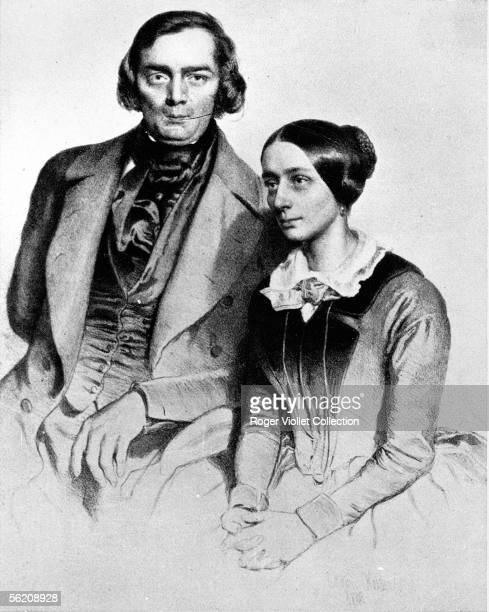 Robert and Clara Schumann German musicians Drawing of Erald Kaiser