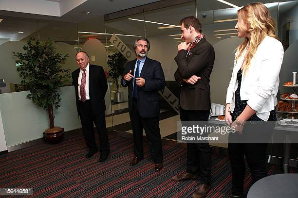 Robert Appel Greg Scholl Greg Ammon and Alexa Ammon attend the ribbon cutting for The Ammon Archives and Music Library at Jazz at Lincoln Center on...