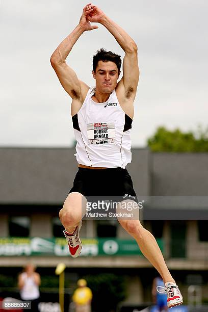 Robert Arnold competes in the decathlon long jump during the USA Outdoor Track & Field Championships at Hayward Field on June 25, 2009 in Eugene,...