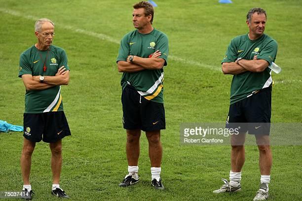 Robert Baan FFA tecnical director assistant coach John Kosmina and coach of Australia Graham Arnold are seen during an Australian Socceroos training...