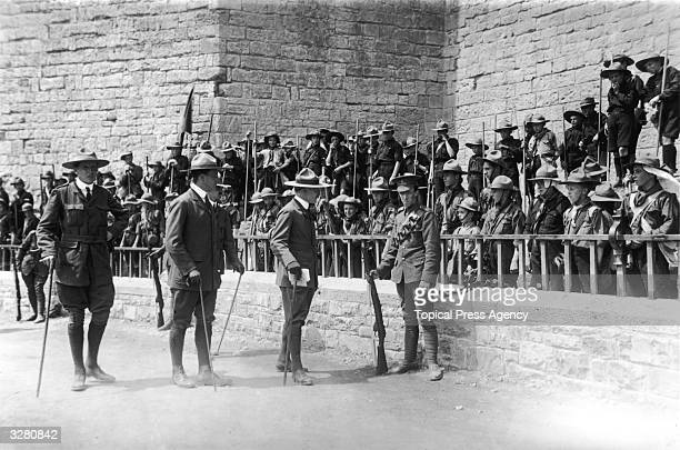 Robert BadenPowell with a party of Scouts at the investiture of the Prince of Wales at Carnarvon