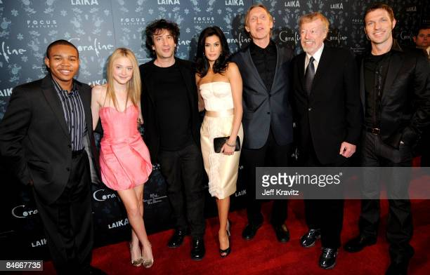 Robert Bailey Jr Dakota Fanning Neil Gaiman Teri Hatcher Henry Selick Phil Knight and Travis Knight at The Premiere of Coraline Presented By Focus...