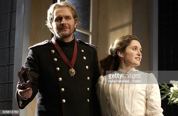 """Robert Bathurst and Madeleine Worrall in the new production of Chekhov's """"Three Sisters"""" at the Playhouse Theatre."""