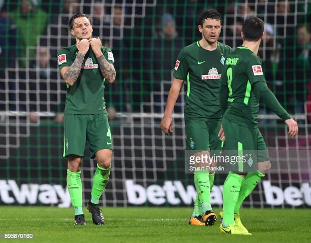 Robert Bauer of Bremen looks dejected during the Bundesliga match between SV Werder Bremen and 1 FSV Mainz 05 at Weserstadion on December 16 2017 in...