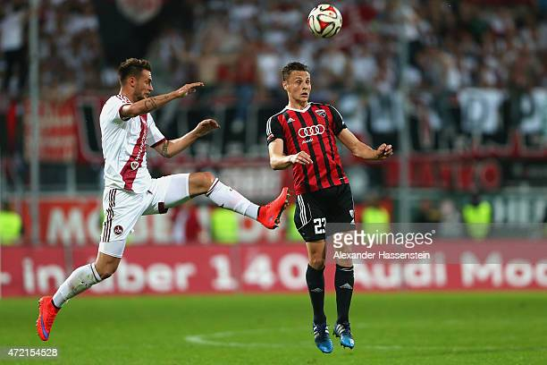 Robert Bauer of Ingolstadt battles for the ball with Danny Blum of Nuernberg during the Second Bundesliga match between FC Ingolstadt and 1 FC...