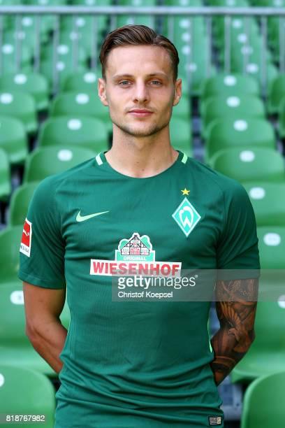 Robert Bauer of Werder Bremen poses during the team presentation at Weser Stadium on July 19 2017 in Bremen Germany
