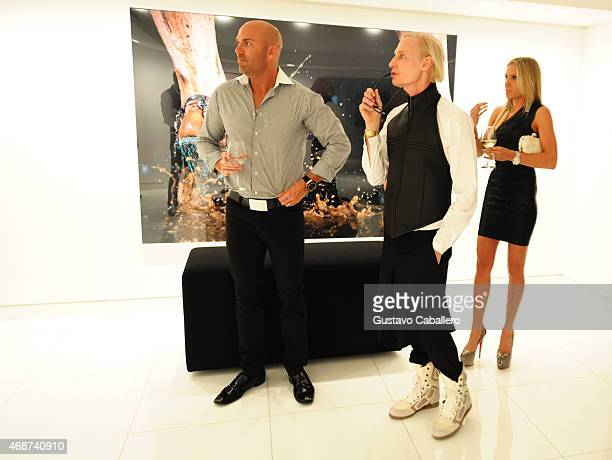 Robert Beer Fredric S Brandt and Lyndsey Mayer attend the viewing of Fredric S Brandt's Art Collection cocktail party on December 4 2012 in Coconut...