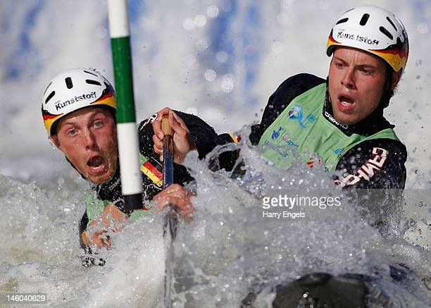 Robert Behling Thomas Becker of Germany compete in the Men's C2 semi final during the ICF Canoe Slalom World Cup at Cardiff International White Water...