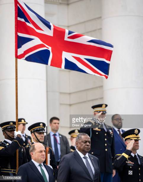 Robert Ben Wallace, Secretary of State for Defense of the United Kingdom, and U.S. Secretary of Defense Lloyd Austin participate in a wreath laying...