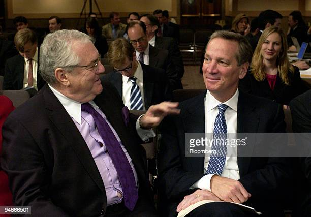 Robert Bennett a partner with the law firm Skadden Arps Slate Meagher Flom LLP left chats with Alan Schwartz president and chief executive officer of...
