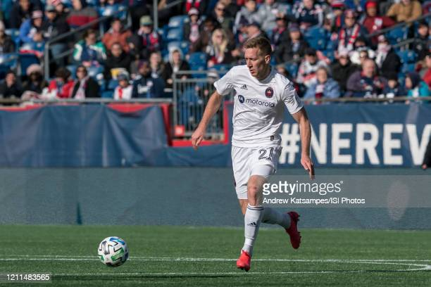Robert Beric of Chicago Fire on the attack during a game between Chicago Fire and New England Revolution at Gillette Stadium on March 7 2020 in...