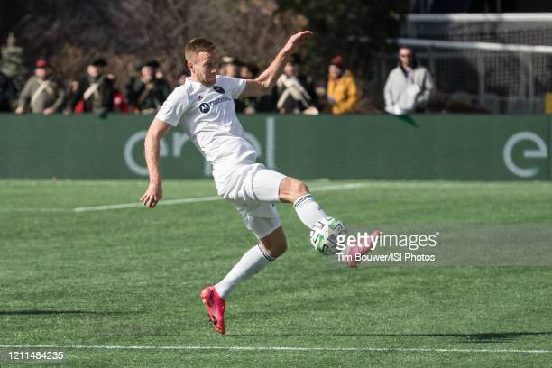 Robert Beric of Chicago Fire receives a pass during a game between Chicago Fire and New England Revolution at Gillette Stadium on March 7 2020 in...