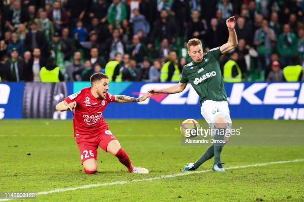 Robert Beric of Saint Etienne and Mihailo Ristic of Montpellier during the Ligue 1 match between Saint Etienne and Montpellier on May 10 2019 in...