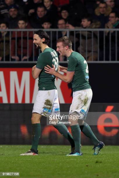 Robert Beric of Saint Etienne celebrates with Neven Subotic of Saint Etienne after scoring a goal during the Ligue 1 match between Angers SCO and AS...