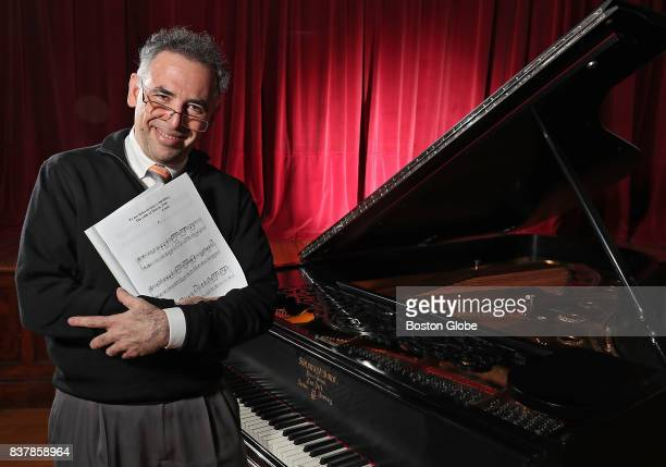 Robert Berkowitz a psychiatrist and highlevel amateur pianist from Natick holds the music of Lajos Delej a Hungarian composer during a recital called...