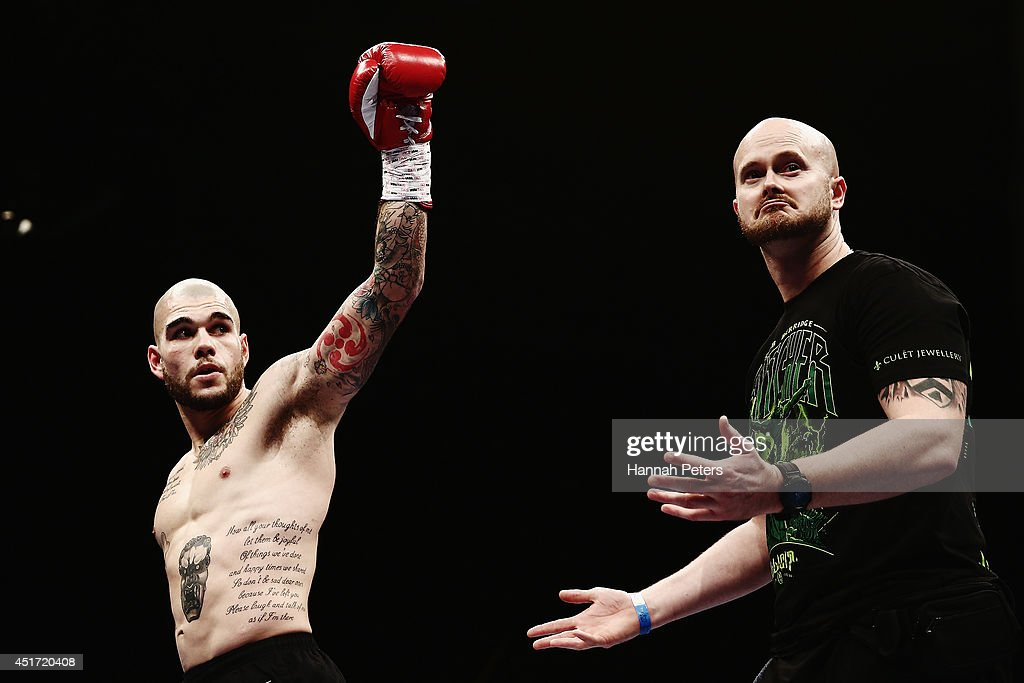Robert Berridge of New Zealand celebrates after beating Rogerio Damasco of Brazil during the Premier Undercard fight at Vodafone Events Centre on July 5, 2014 in Auckland, New Zealand.