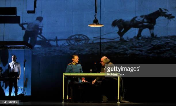 Robert Beyer Laurenz Laufenberg and Johannes Flaschberger in Complicite and Schaubuhne Berlin's production of Stefan Zweig's Beware of Pity directed...