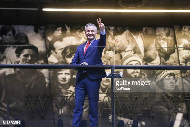 Robert Biedron a mayor of the city of Slupsk during the 37th anniversary of the Gdansk Agreement in European Solidarity Centre in Gdansk Poland on 31...