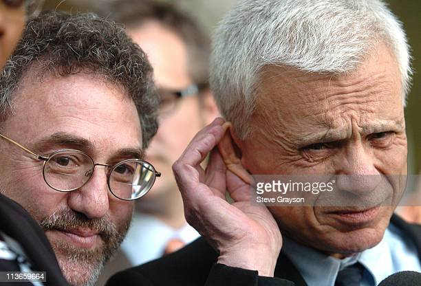 Robert Blake cusps his ear to hear questions from the media at a press conference with with his attorney M Gerald Schwartzbach after he was acquitted...