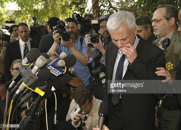 Robert Blake finishes a cigarette before a press conference after he was found not guilty of murdering his wife Bonny Lee Bakley in the Van Nuys...