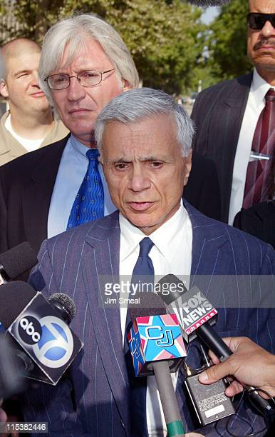 Robert Blake speaks to the media as his attorney Thomas Mesereau Jr listens, before a pre-trial session on the murder charges he faces in the death...