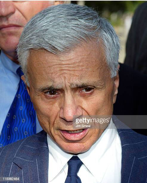 Robert Blake speaks to the media before a pre-trial session on the murder charges he faces in the death of his wife Bonny Lee Bakley, July 10, 2003...