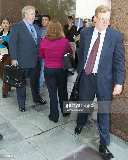 Robert Blake's attorney Harland Braun and the Blakley's family attorney Cary W Goldstein cross paths as they exit the Van Nuys courthouse after a...