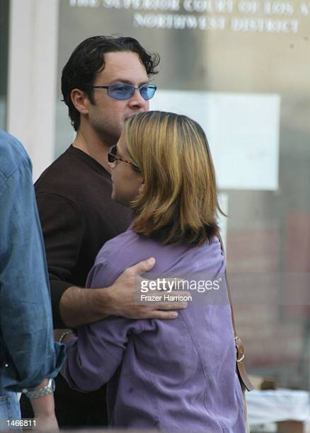 Robert Blakes daughter Delinah and son Noah hug outside the Van Nuys Courthouse before for a hearing in the case of actor Robert Blake on October 9...
