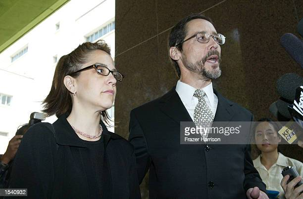 Robert Blake's daughter Delinah fields questions with her attorney Terry McNiff outside the Van Nuys courthouse after a Superior Court commissioner...