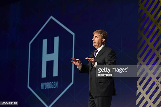 Robert Bob Carter senior vice president of automotive operations at Toyota Motor Sales USA Inc speaks during an event at the 2016 Consumer...