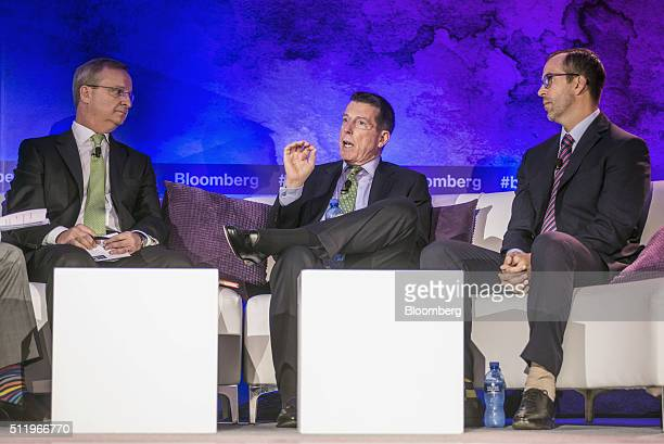 Robert 'Bob' Diamond cofounder of Atlas Mara Ltd center speaks during a panel session with Mike Brown chief executive officer of Nedbank Group Ltd...