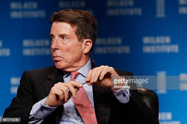 Robert 'Bob' Diamond founder and chief executive officer of Atlas Merchant Capital LLC listens at the annual Milken Institute Global Conference in...