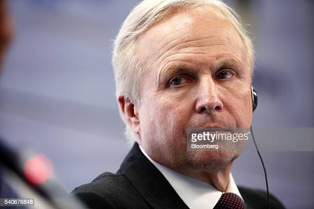 Robert 'Bob' Dudley chief executive officer of BP Plc listens to a fellow panellist during a panel session on the opening day of the St Petersburg...