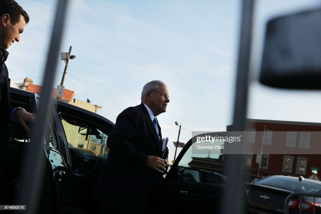Robert 'Bob' Menendez (D-NJ) arrives at federal court on November 15, 2017 in Newark, New Jersey. The jury continues to deliberate in his corruption trial.