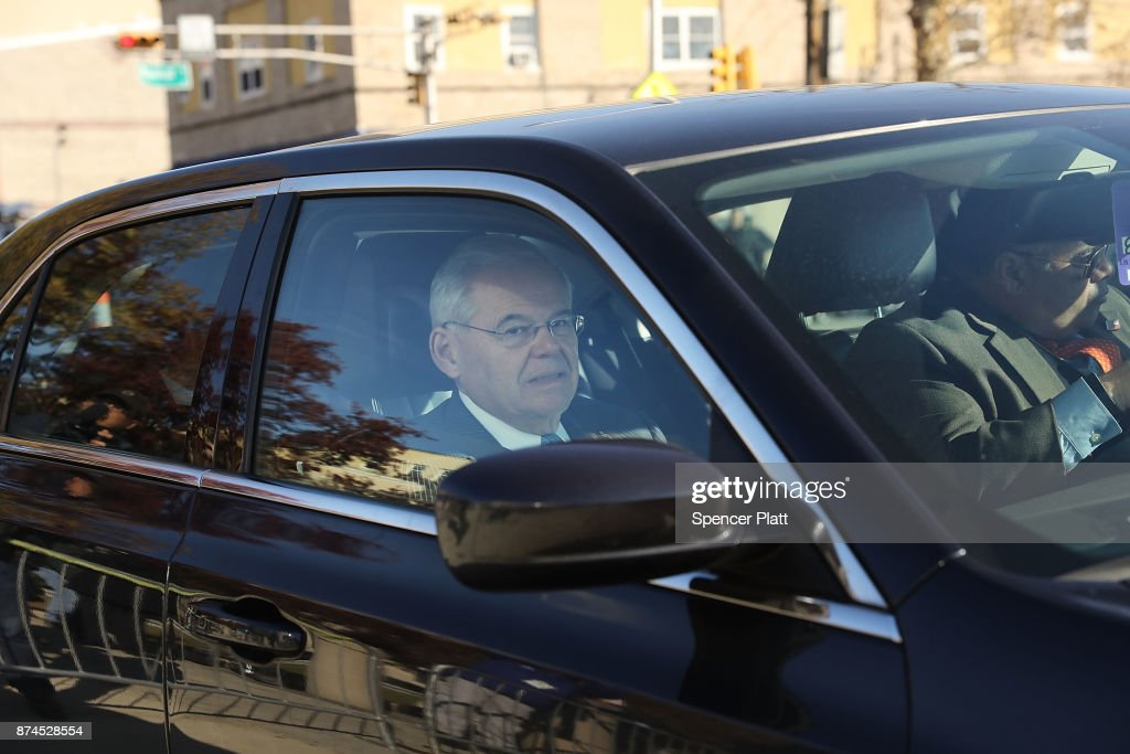 Robert 'Bob' Menendez (D-NJ) drives away in his car as he departs federal court, November 15, 2017 in Newark, New Jersey. The jury continues to deliberate in his corruption trial.