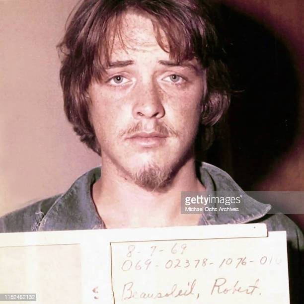 Robert 'Bobby' Beausoleil poses for a mugshot after being arrested for the murder of Gary Hinman at the request of Charles Manson on August 7 1969