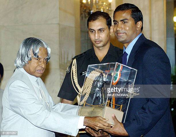 Robert Bobby George trainer and husband of Indian athlete Anju Bobby George receives the Dronacharya Award the second highest sports award from...