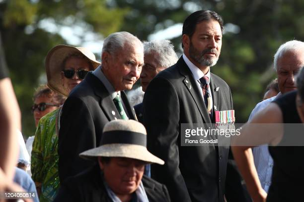 Robert Bom Gillies one of only two surviving members of the Maori Battalion and Willie Apiata VC arrive at the opening of Te Rau Aroha on February 05...