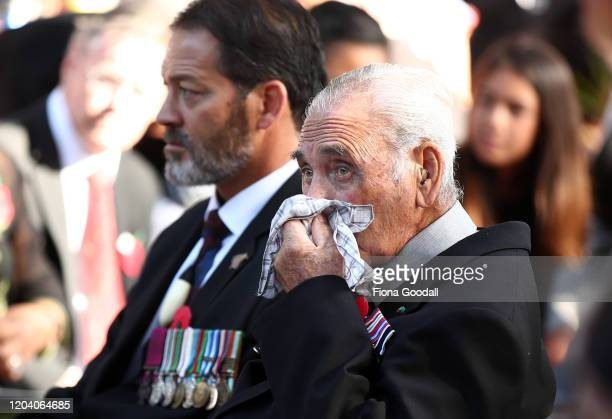 Robert Bom Gillies one of only two surviving members of the Maori Battalion with Willie Apiata VC at the opening of Te Rau Aroha on February 05 2020...