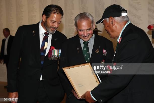 Robert Bom Gillies one of only two surviving members of the Maori Battalion with Willie Apiata VC inside Te Rau Aroha on February 05 2020 in Waitangi...
